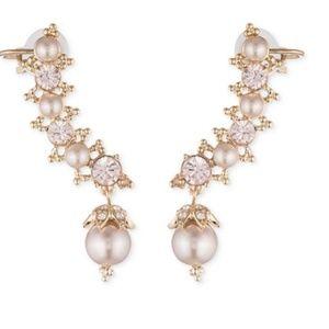 Marchesa Swarovski & Pearl Ear Climber Earrings